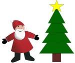 Découpage-collage de Noël : le Père Noël et un sapin