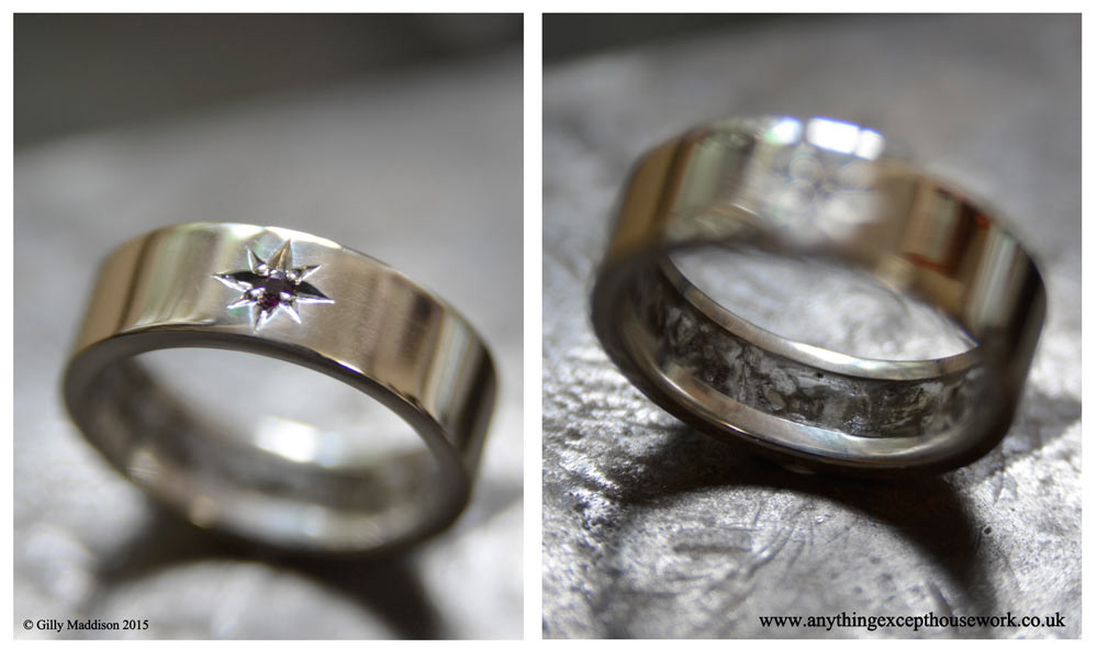 The 'Secrets' ring showing the secret groove containing the ashes and the high standard of hand-finishing.