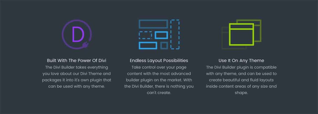 Elegant Themes Divi visual page builder plug-in that can be used with any 3rd party theme