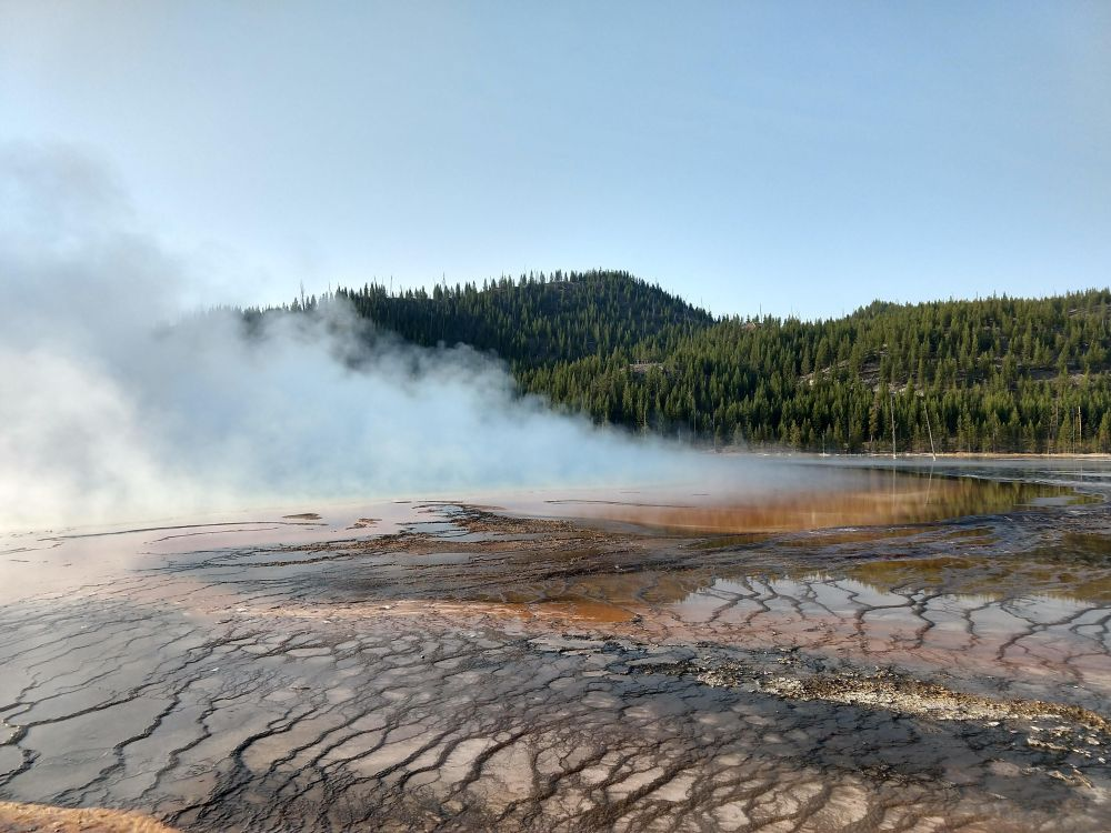 Grand Prismatic spring with overlook in the background