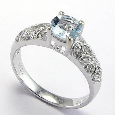 Anzor Jewelry 18k White Gold Aquamarine Diamond