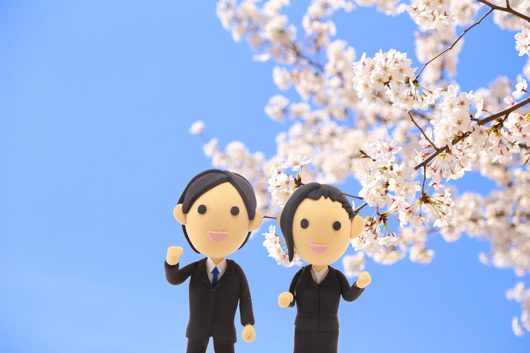 桜の樹の下の就活生人形