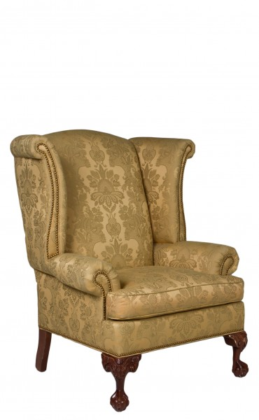 Gold Damask Wing Back Club Chair CHR009285 Arenson