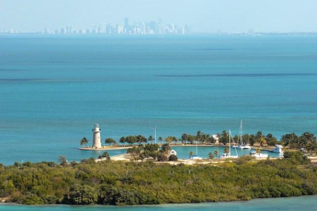 An aerial view of Boca Chita Key and the Miami Skyline.