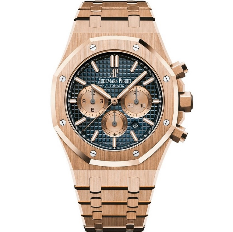 Replica Audemars Piguet Royal Oak Chronograph 41mm Rose Gold Blue Dial 26331OR.OO.1220OR.01