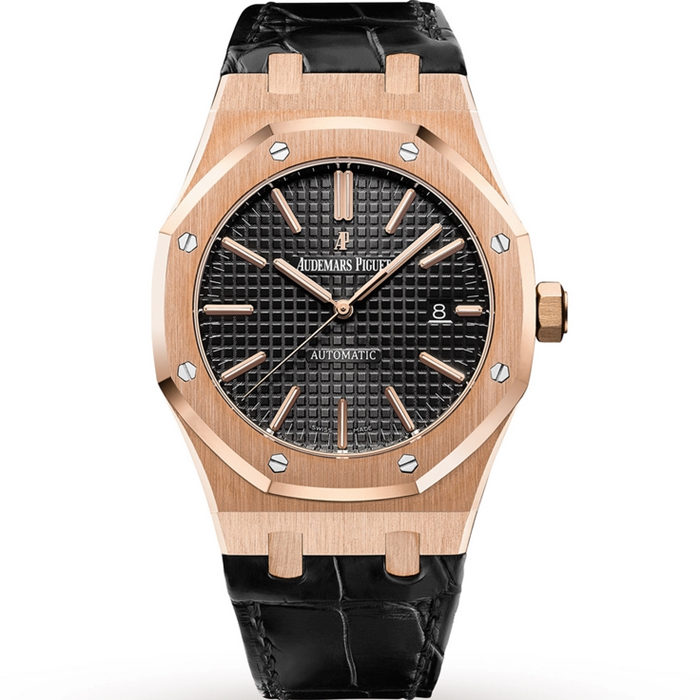 Replica Audemars Piguet Royal Oak Automatic Rose Gold Black Dial 15500OR.OO.D002CR.01
