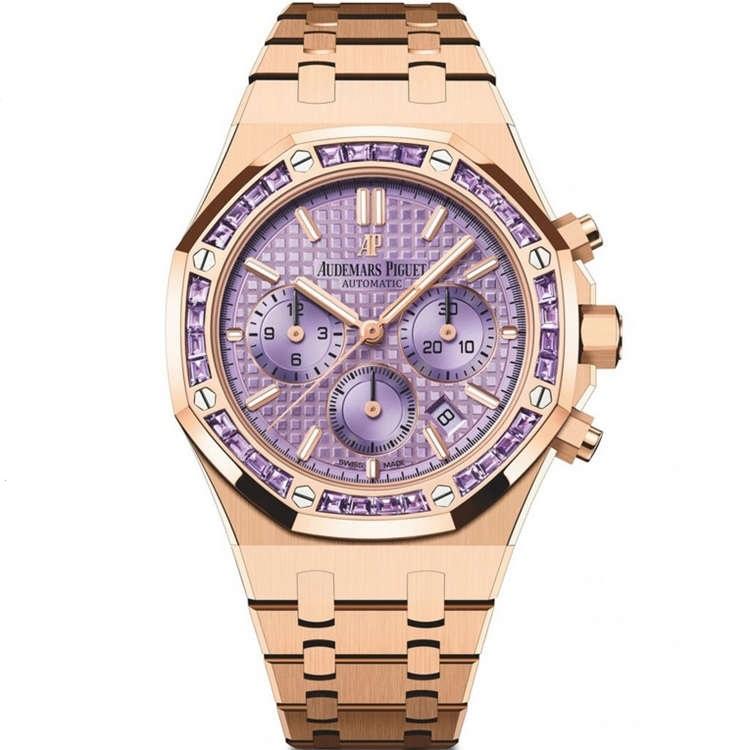Replica Audemars Piguet Royal Oak Chronograph Pink Gold Amethysts Purple 26319OR.AY.1256OR.01