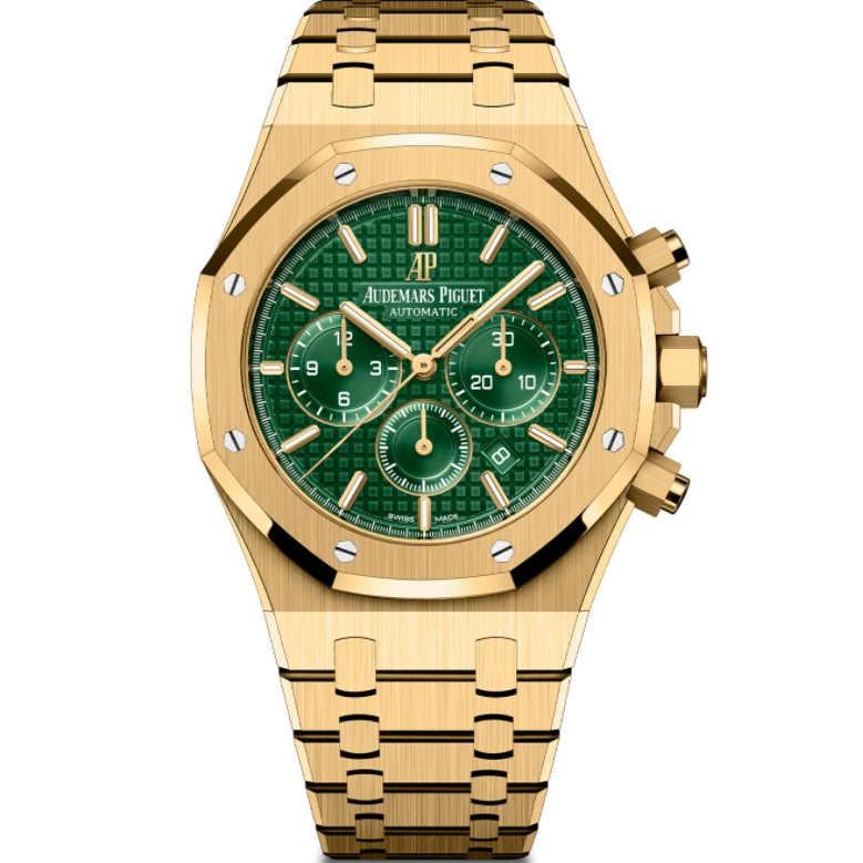 Replica Audemars Piguet Royal Oak Chronograph Yellow Gold Green Dial 26331BA.OO.1220BA.02