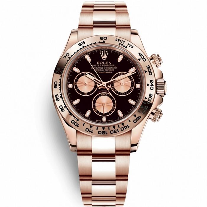 Replica Rolex Cosmograph Daytona Everose Gold Black Dial 116505