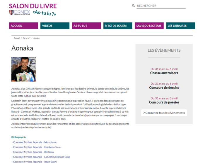 Site page Aonaka SALON DU LIVRE d'Ornex« AS-TU LU ? » 2021