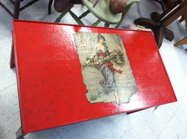 Superb New Item Red Painted Wood Coffee Table With Decoupage Bralicious Painted Fabric Chair Ideas Braliciousco