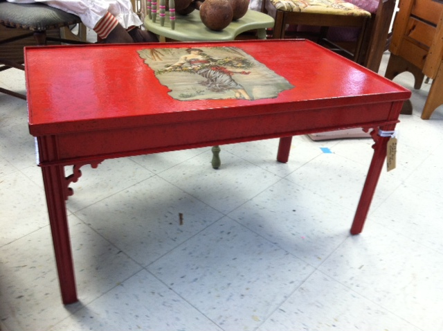 New Item Red Painted Wood Coffee Table With Decoupage Advertisement Among Other Things