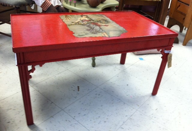 Magnificent New Item Red Painted Wood Coffee Table With Decoupage Bralicious Painted Fabric Chair Ideas Braliciousco