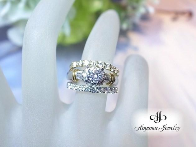 プレーンな地金リングや、1つ石のダイヤモンドリングを挟んでも素敵