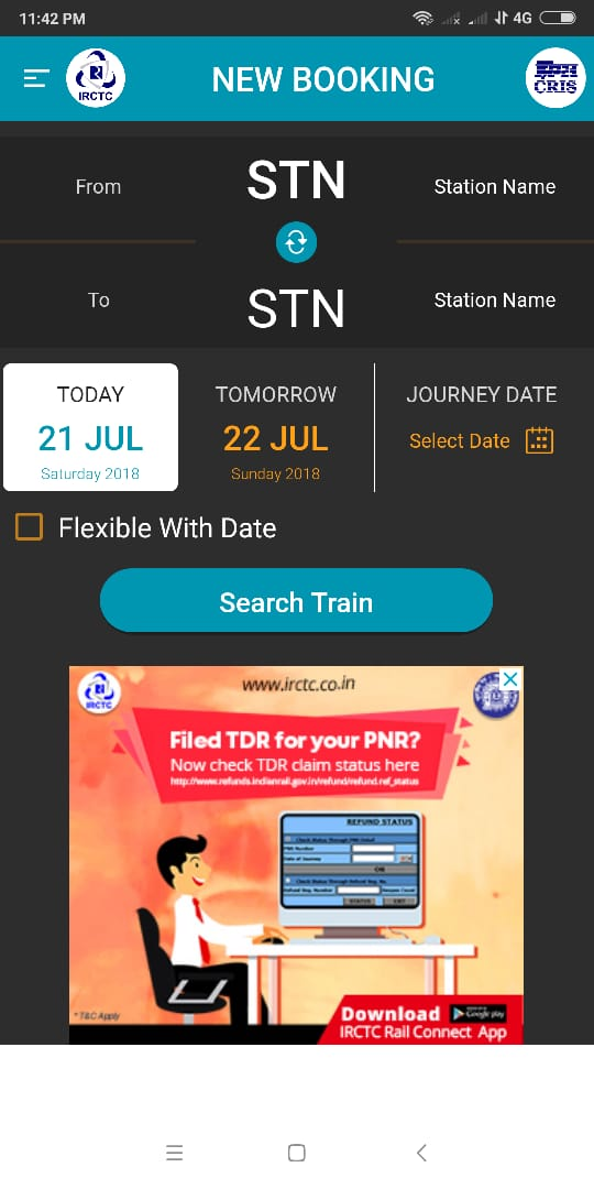 old booked ticket history in IRCTC website