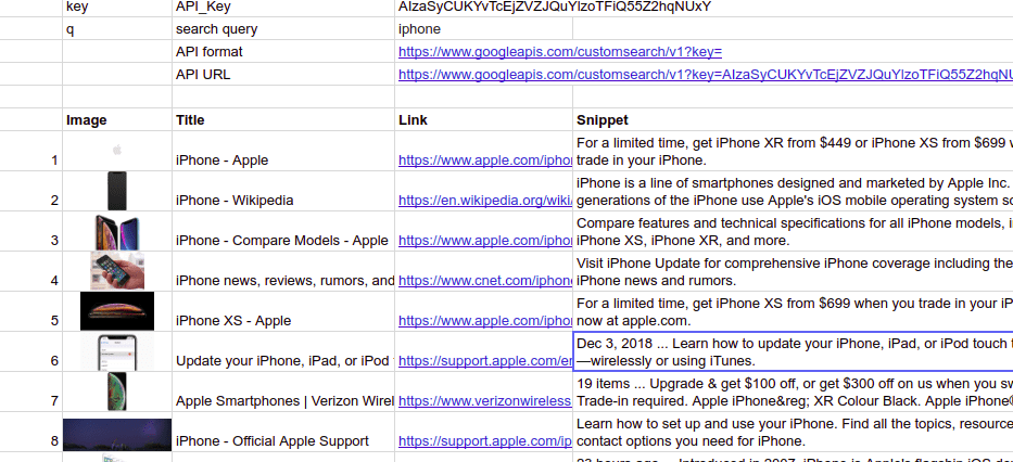 google search results in google sheets or excel