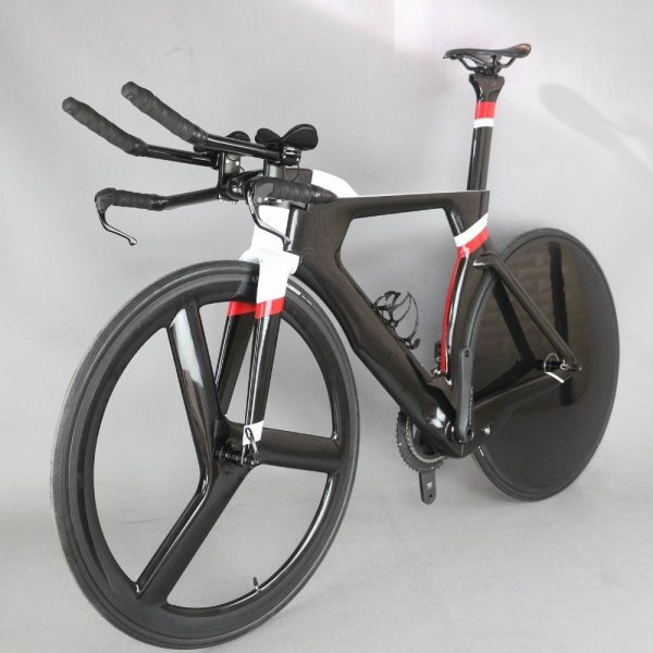 700C Complete Bike TT Bicycle Time Trial Triathlon Carbon Fiber Carbon Black Painting Frame with DI2 R8060 groupset 1