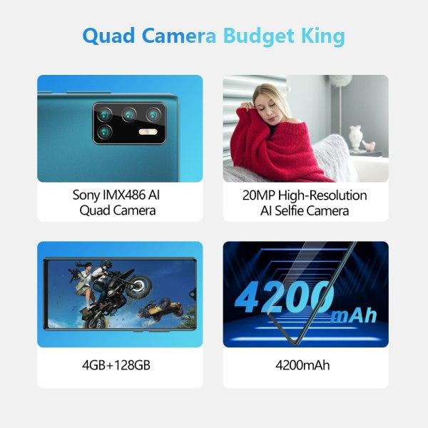 Cubot P40 אחורי Quad מצלמה 20MP Selfie Smartphone NFC 4GB 128GB 6.2 אינץ 4200mAh אנדרואיד 10 dual SIM כרטיס טלפון נייד 4G LTE 2