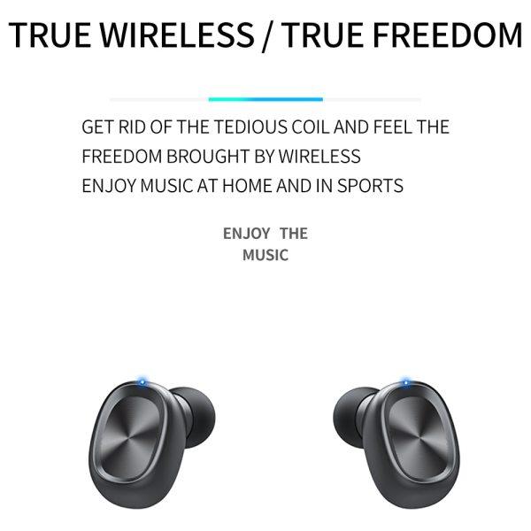 Bluetooth Earphones Wireless Two Ears Sports Running Mini Music Earphones HiFi IPX7 Waterproof earbuds Touch Control Headset for 5