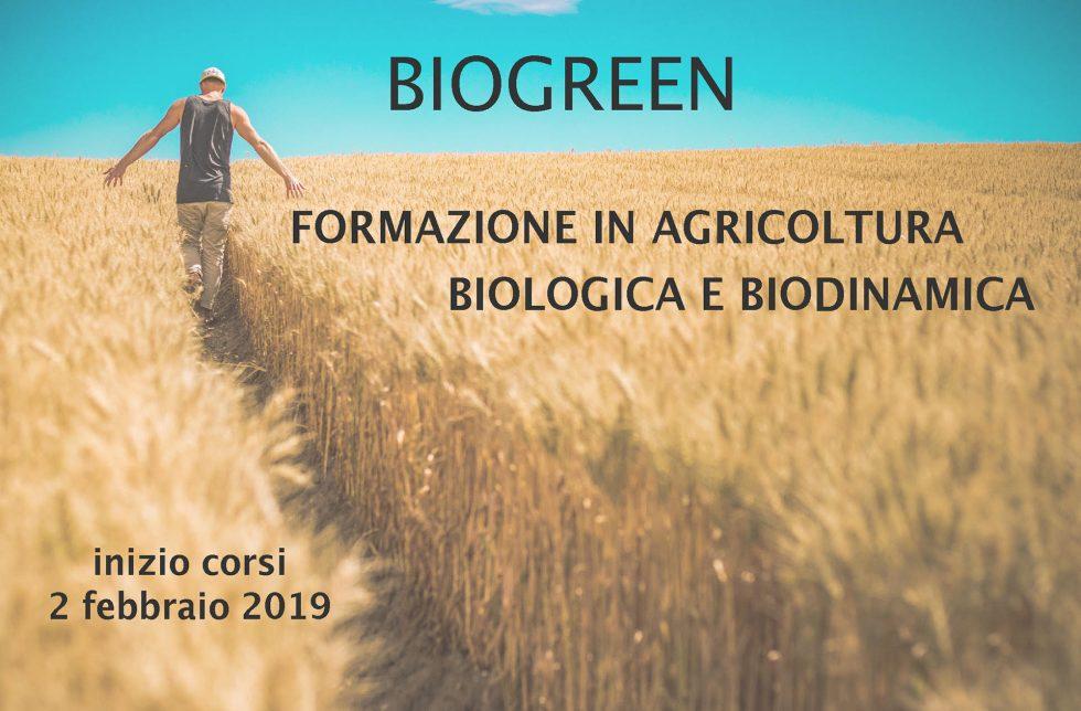 Locandina corso Biogreen, campo di grano, coltivatore e testo