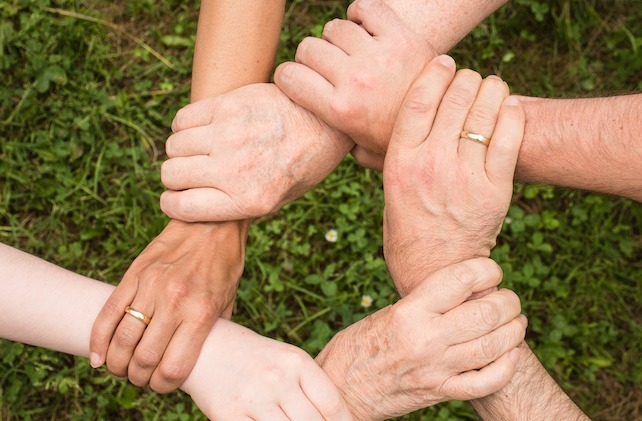 Mani che si uniscono sullo sfondo di un prato, spirito di gruppo