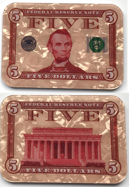$5 Abraham Lincoln Poker Plaque