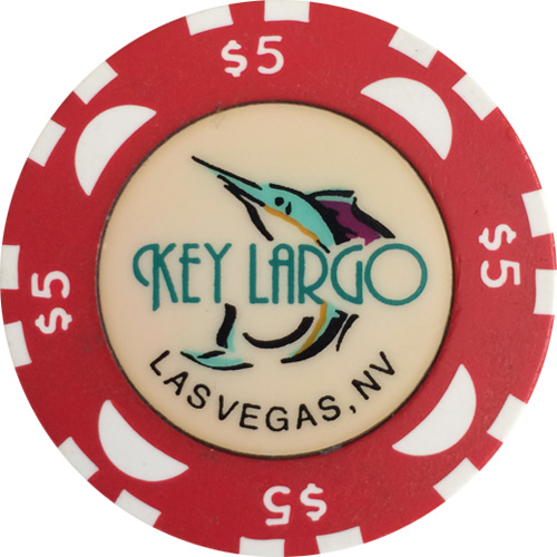 Key Largo $5 Bud Jones Casino Poker Chip