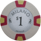 Milano Poker Chips - $1 Milanos chips