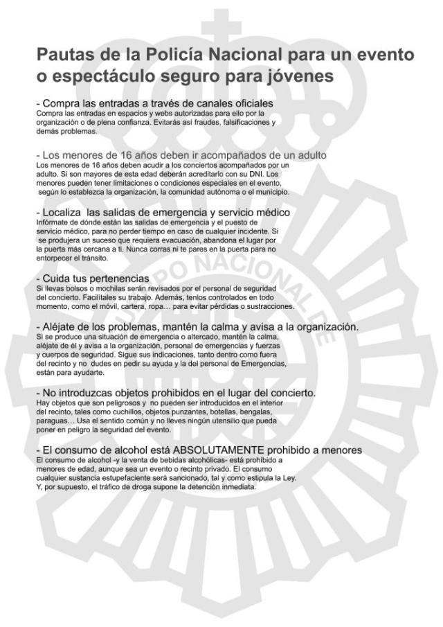 EVENTOS SEGUROS pautas de la Policía Nacional