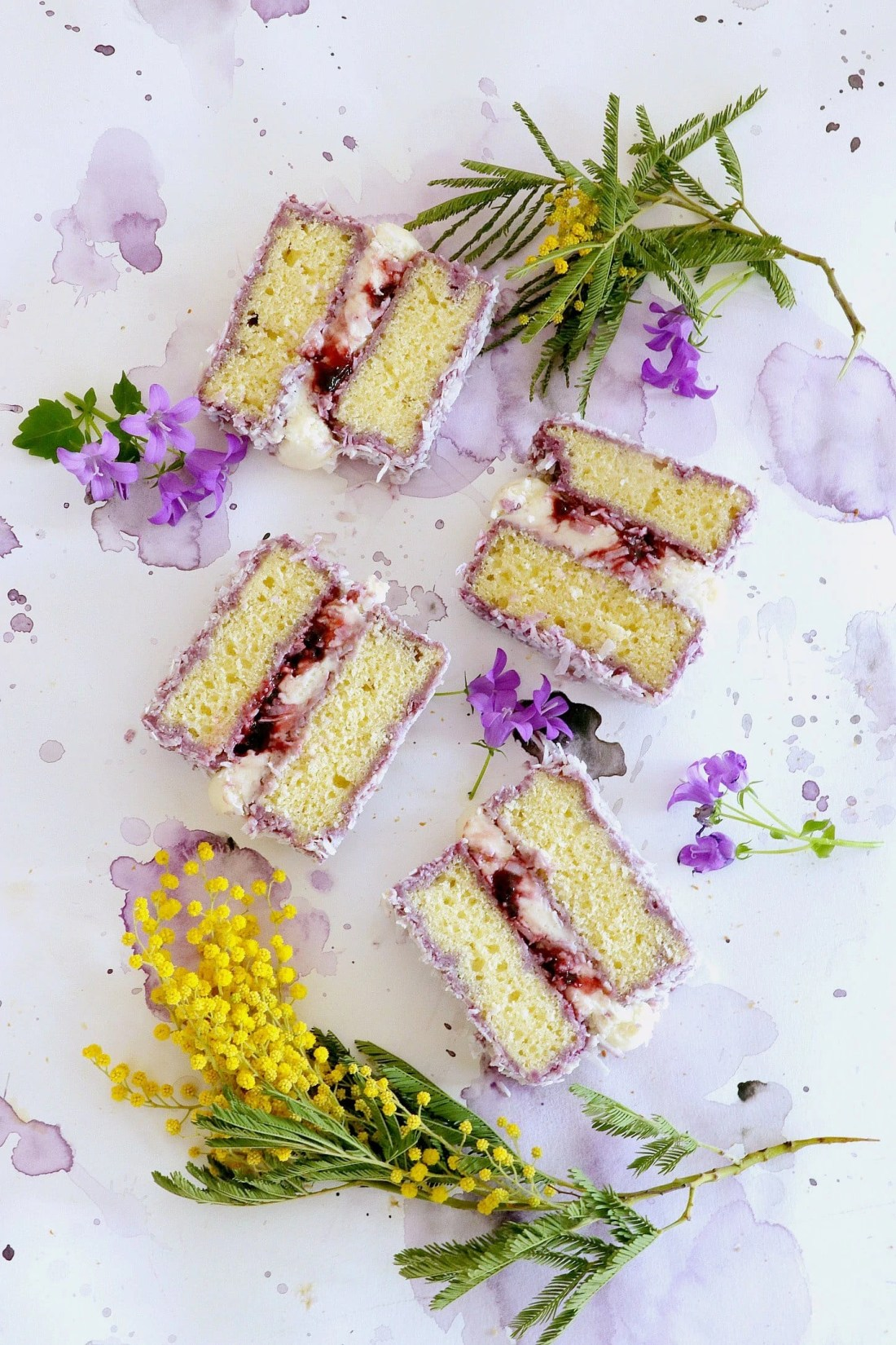Blackcurrant and Coconut Lamingtons