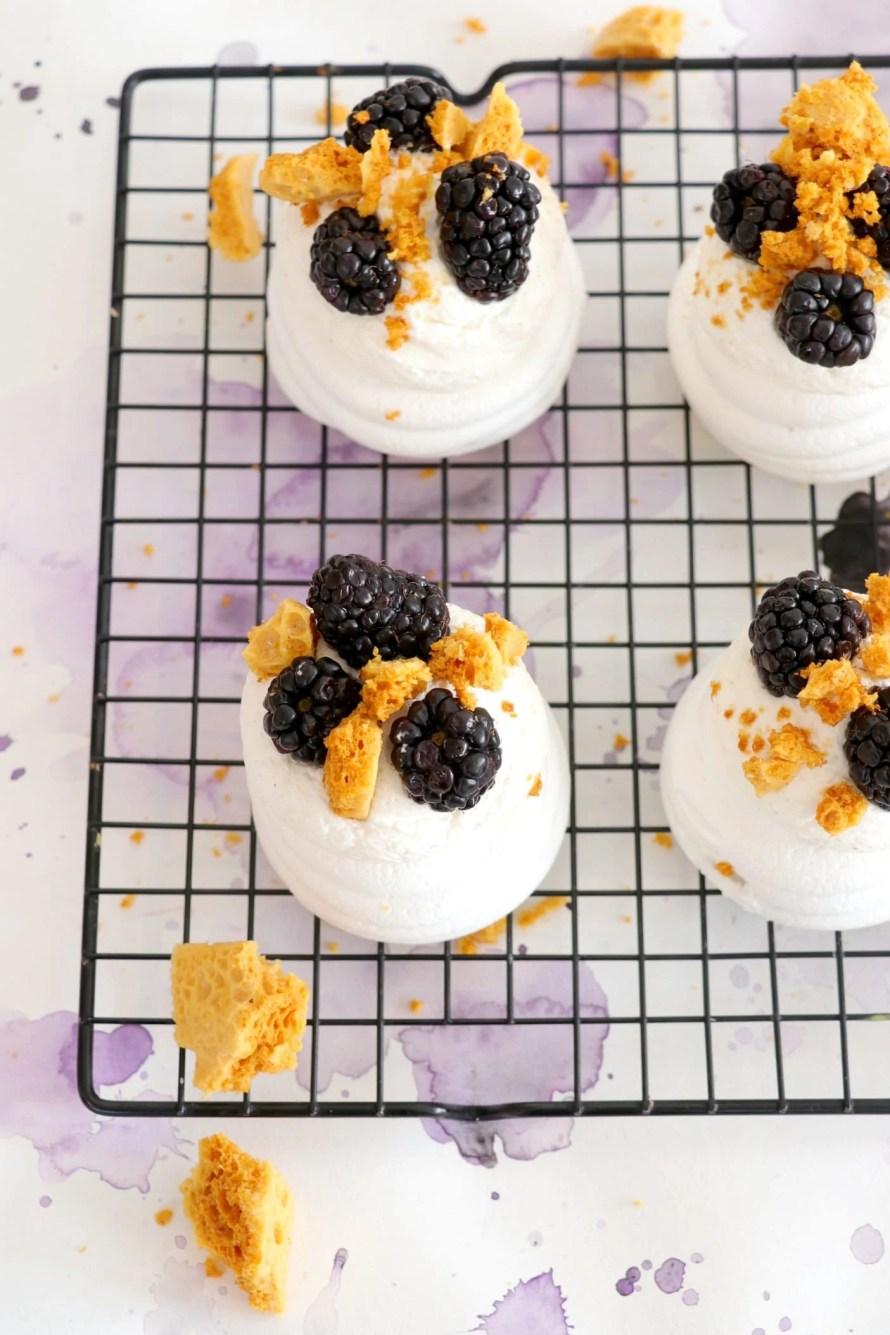 Blackberry and Honeycomb Mini Pavlovas