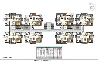 Floor plan of Aparna Sarovar Zenith 7th 8th 20th 21st and 22nd floors
