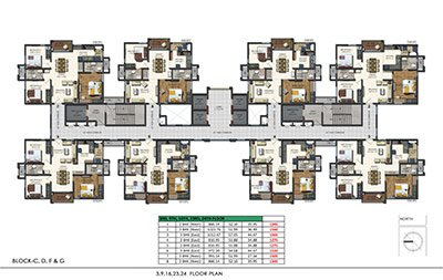 Floor plan of Aparna Sarovar Zenith 3rd 9th 16th 23rd and 24th floors 3bhk 2