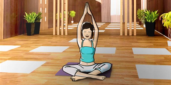 a lady doing yoga