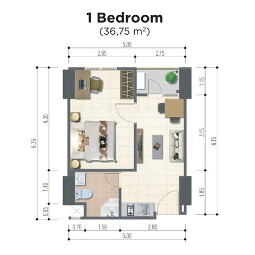 Apartemen-LRT-City-Ciracas-Urban-Signature-Tipe-Unit-1 BR