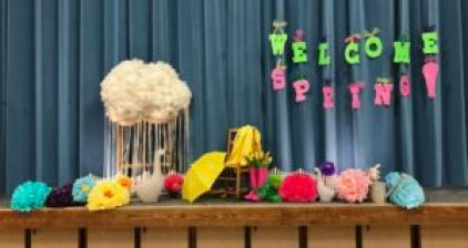 Bring on Spring with tissue flowers, cloud guy, spring vignettes, great quotes by women and lots of food for Relief Society Birthday Celebrations