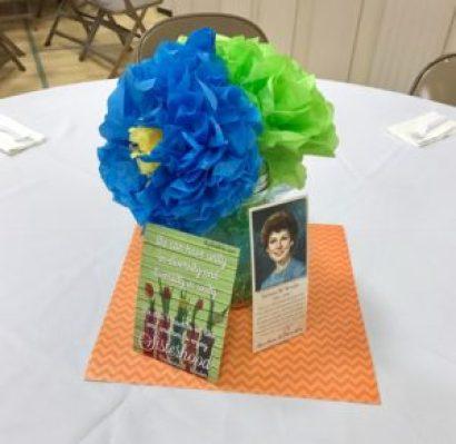 tissue flowers, cloud guy, spring vignette, relief society birthday centerpiece