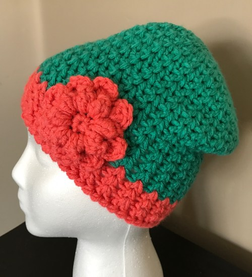 V-Stitch Winter Hat, Red Heart Baby Hugs Yarn, Free crochet hat pattern