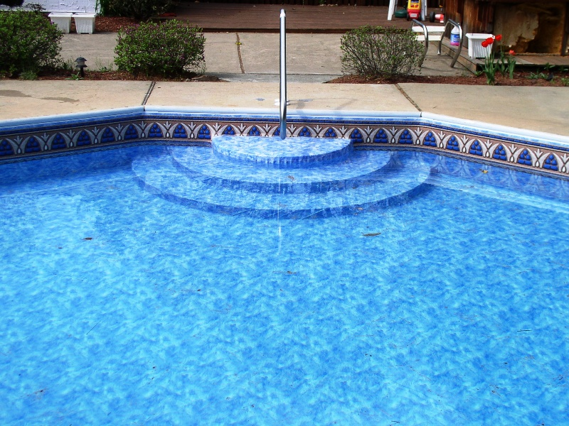 Vinyl Pools  Pool Liners  Pool Service  Pool Renovations in Bucks     Steel wall pool with new 180 degree    wedding cake steps     modified to fit  decagon shape  and bottom color vinyl liner over step unit