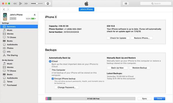 iTunes12 recovery mula sa backup ng iPhone