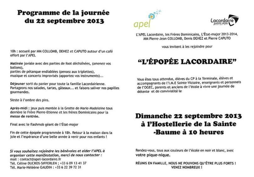 Planning de la journée du 22 septembre