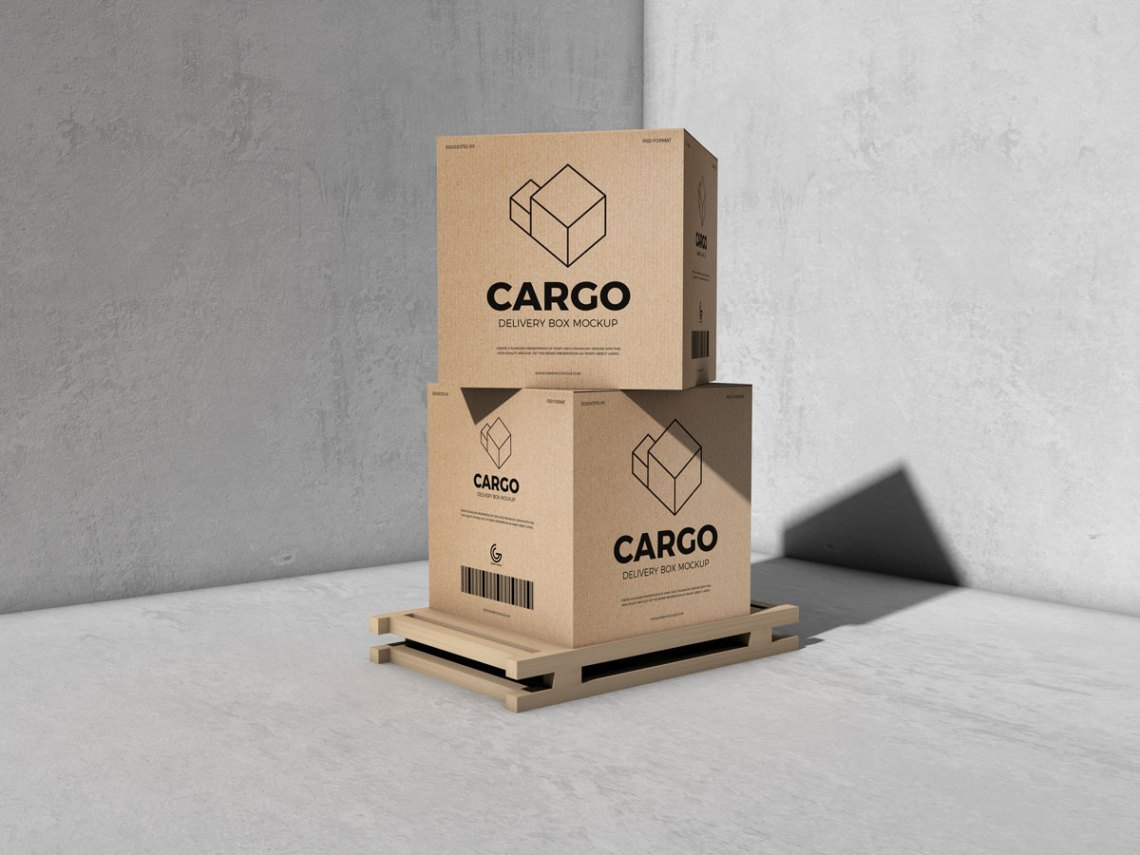 Download Free Packaging Cargo Delivery Box Mockup | Free Mockups ...