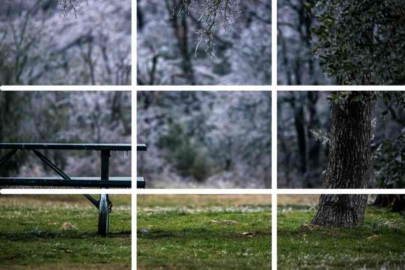 winter scene picnic table demonstrates rule of thirds