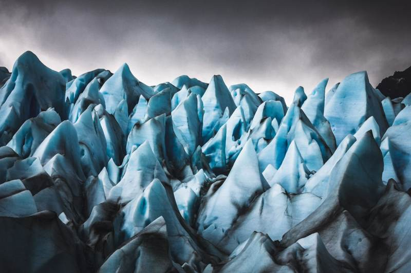 Jagged blue glacier on a cloudy day -Glacier Grey in  Patagonia Chile