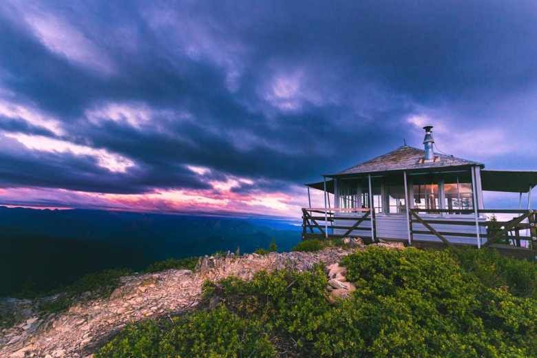 Sunset At the Gold Butte Lookout Tower - Detroit, Oregon