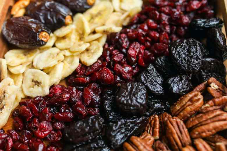 Mixed nuts and fruit