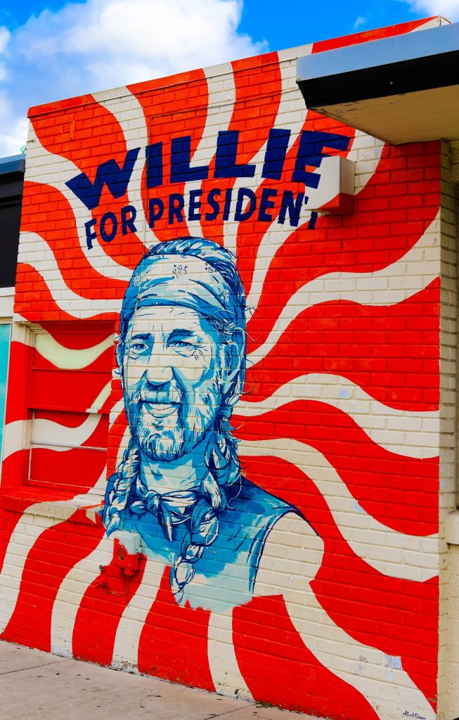 Willie for President Wall mural on South Congress in Austin, Texas - Swift Wellness