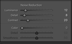 Noise Reduction in Detail Panel - Lightroom