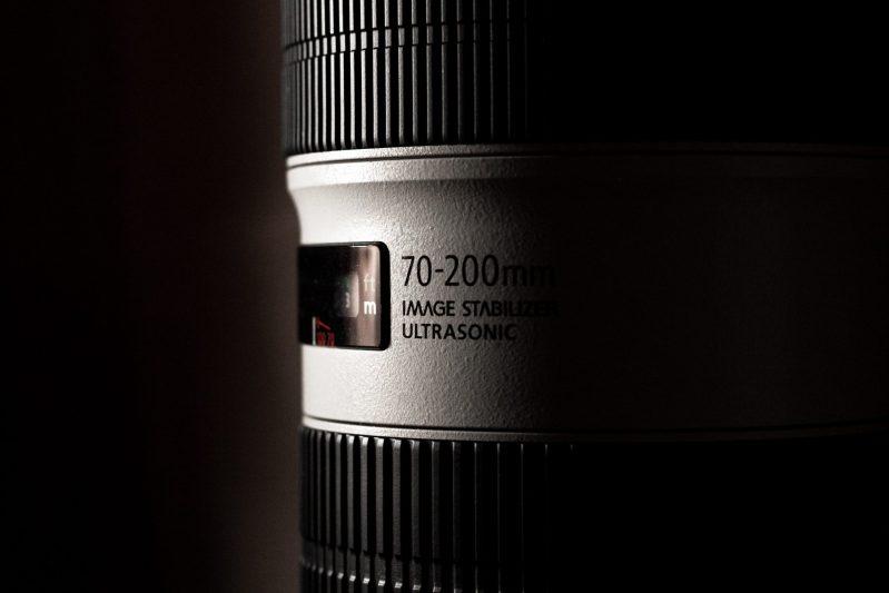 Closeup of a Canon 70-200mm telephoto lens