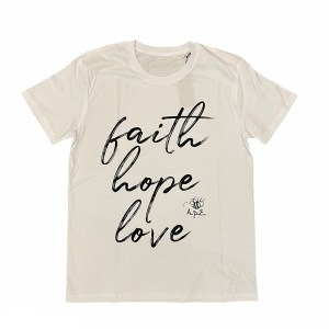 maglietta solidale faith hope love bianca
